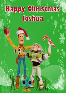 personalised woody buzz toy story christmas card
